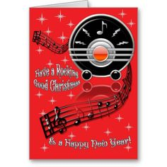 Rocking Christmas - Art Deco Radio (Personalized Card) Bring out your dancing shoes, it's time to rock! On a righteous red background sits IconDoIt's original digital painting of an Art Deco style radio in glossy black w/ silver & red trim, winding treble staff, delicate white stars & silvery caption: 'Have a Rocking Good Christmas & a Happy New Year'. Inside is adorned w/ bright red frame & glossy black V-shaped guitar + custom text to personalize or clear. #rocknrollchristmas…