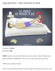 Exercise in Bed! Ab Workout In Bed, Bed Legs, Chronic Illness, Abs, Exercise, Ejercicio, 6 Pack Abs, Excercise, Exercise Workouts