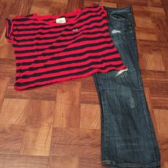 Hollister Pants and Refuge Jeans Bundle Deal... Medium Hollister Shirt and Size 8 Charlotte Russe Jeans Hollister/Charlotte Russe Jeans Ankle & Cropped