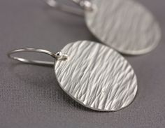 Silver Texture Earrings - Hammered Sterling Silver Ovals, Sterling Silver Earwires