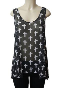 New Black White Cross Sheer Rockabilly Goth Chiffon Tank Top Sexy Plus Size 2X