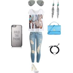 Blue and White No.1 by suvalic-haris on Polyvore featuring Frame Denim, Michael Antonio, Vivienne Westwood, Kate Spade, Ray-Ban, women's clothing, women's fashion, women, female and woman
