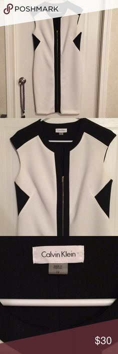 """$25 like new Calvin Klein front zipper dress sz 12 Very stretchy and soft. Two zippers in front to get the perfect fit. ✔The price in the beginning of the title of my listings is the bundle price. These prices are valid through the """"make an offer"""" feature after you create a bundle. These bundle orders must be over $15. Ask me about more details if interested.  ❌No trades ❌No holds ❌No model photos ❌No additional measurements ✔️everything pictured is included Calvin Klein Dresses"""