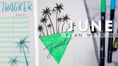DIARY DESIGN | June 2018 Bullet Journal With Me | PALM TREE Setup
