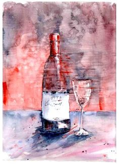 Watercolor wine bottle and wineglass. Abstract watercolor illustration.