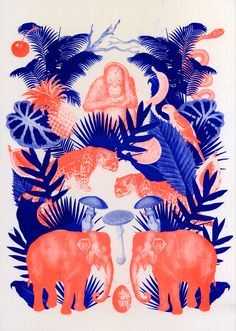 jungle, nature, bleu, orange, rose, éléphant, ananas, palmier, perroquet, panthère, orang-outan, singe, animal