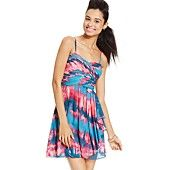 Hailey Logan by Adrianna Papell Juniors' Tie-Dye-Print Dress