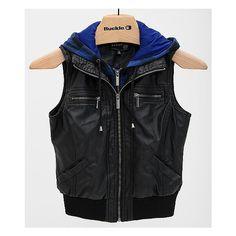 Ashley Hooded Vest ($47) ❤ liked on Polyvore featuring outerwear, vests, jackets, vest, tops, black, black faux leather vest, faux leather vest, zip up vest and black vest