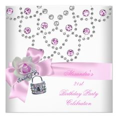 21st Birthday Party Overlay Pink Jewel Key Lock invitations Birthday invitations by zizzago.com