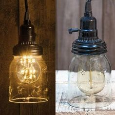 "5"" Clear Mason Jar Swag Pendant Lamp - Our 5"" Mason Jar Swag Pendant Lamp features a Mason jar attached to a black lighting fixture. Includes a 12-foot adapter with a switched socket. This lamp plugs into any wall outlet; no wiring required. Light bulbs are not included."