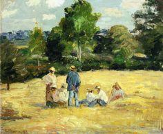 "Camille Pissarro:  ""Resting Harvesters,  Montfoucault"""