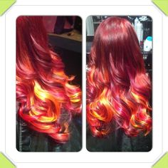 Fire hair/ colourful hair.  This looks pretty cool lol