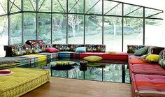 Roche Bobois Mah Jong sectional sofas designed by Hans Hopfer are available with a number of fabric choice