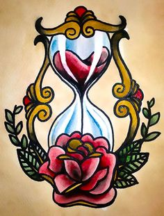 Traditional tattoo 'Hourglass' by Psychoead.deviant… Traditional tattoo 'Hourglass' by Psychoead. Girly Tattoos, Trendy Tattoos, Flower Tattoos, Body Art Tattoos, Sleeve Tattoos, Tatoos, Disney Tattoos, Flash Art, Sanduhr Tattoo Old School