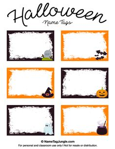 Free printable Halloween name tags with bats, a witch hat, tombstone, and other graphics.. The template can also be used for creating items like labels and place cards. Download the PDF at http://nametagjungle.com/name-tag/halloween/