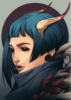 Lucrezia by Sha-H female tiefling demon devil succubus horns armor clothes clothing fashion player character npc Dark Fantasy, Fantasy Art, Character Concept, Character Art, Concept Art, Dnd Characters, Fantasy Characters, Fantasy Inspiration, Character Inspiration