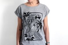 Parrot T-Shirt for women parrot printed shirt by hardtimesdesign