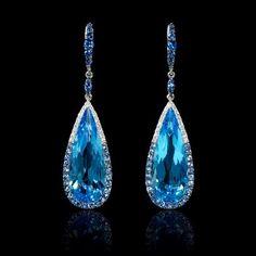 Diamond Blue Sapphire and Blue Topaz 18k White Gold Dangle Earrings