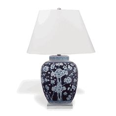 "Limited Production Design Limited Stock: 29"" Tall Chinese Blue & White Porcelain Cherry Blossom Table Lamp * Partner Garden Stools & Ginger Jars Available"