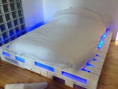 pallet bed with lights.