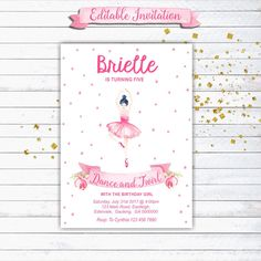 Ballerina Birthday Invitation, Ballet Party Invitation, Dance and Twirl, Ballerina Party, Printable Invitation, Editable, INSTANT DOWNLOAD by iCandyPartyPrintable on Etsy