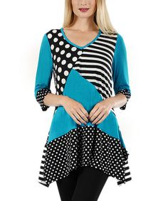 Aster Black & Turquoise Patchwork Tunic | zulily