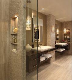 base cabinets : tile : lighting : shower