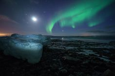Aurora, Moon and Ice