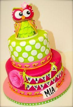 Owl Birthday Cake by BumbleBerries Fondant Owl Cake Topper Owl Cake birthday party girl boys kids kid chil children Owls Owl hibou gateau