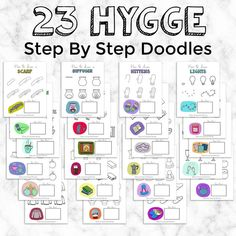 Hygge Doodle Tutorials, Hygge Step By Step Doodles, Learn How To Doodle Hygge Elements, How to Draw Tutorials, Drawing drawing tutorials Coffee Doodle, Doodle 2, Cool Doodles, Simple Doodles, Art Lessons For Kids, Art For Kids, Drawing Tutorials For Beginners, Bullet Journal Notebook, Doodle Art Journals