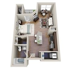 Small Studio Apartments two-room apartment of 30 to 50 square meters can be easily