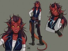 A demon woman wearing contemporary clothes, urban fantasy character inspiration