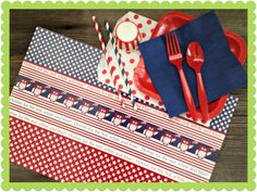 John's Hoot Hoot Hooray Party Package $29 These flag waving little owls are perfect for any patriotic celebration. Your picnic or 4th of July party will be made easy with these red, white, and blue party goods.  Each patriotic party package includes 10 patriotic themed paper placemats, 12 red plates, 12 navy napkins, 12 red forks and spoons, 6 red straws, 6 navy straws, 12 red striped candy cups, and 12 red polka dot sweet sacks. http://outsidetheboxpapers.com/