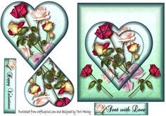 All though this is down as a Valentines card, this 3D card can be used at any time, because it has 2 labels one is Happy Valentines day, but the other label says Sent with love, so it can be used on many occasions.  It has beautiful roses and heart on it.
