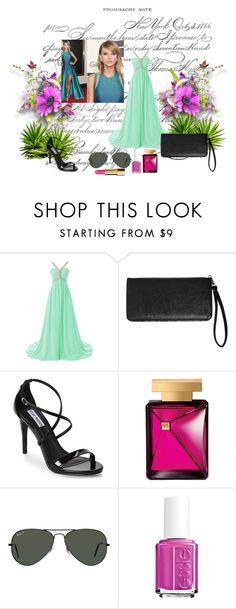 """""""fashion"""" by adorotic ❤ liked on Polyvore featuring Elie Saab, Avenue, Steve Madden, Victoria's Secret, Ray-Ban and Essie"""