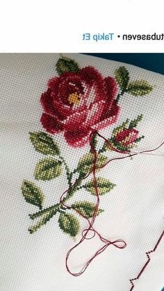 Lovely floral/roses cross stitch embroidered tablecloth in linen from Sweden Cross Stitch Rose, Cross Stitch Borders, Cross Stitch Flowers, Cross Stitch Charts, Cross Stitch Designs, Cross Stitching, Cross Stitch Patterns, Ribbon Embroidery, Floral Embroidery