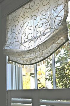 """Moveable Relaxed Roman Shade Lined in Another Sheer, so that you could not see through the fabric when lowered, but to maintain the sheer look of the shade. Widths: 26"""" to 45"""" & Length you want up to"""