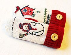 sweater mittens, upcycled sweater mittens with snowman, by miraclemittens