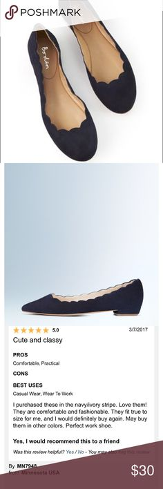 NEW. Boden scalloped navy  flats Very new scalloped flats. I've only worn them for a couple hours. They were just slightly too big. These shoes are beautiful though! Very good condition! Boden Shoes