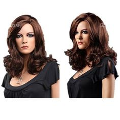 SureWells Nice wigs New Products 15% Off High-end Brown Oblique Bangs Medium Curly Wavy Full Wigs Front Lace Wig African American Wig for Girls and Women by SureWells. $23.99. Save 70%!