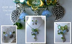 Boho Czech crystal floral necklace/earring set by PirateSwag