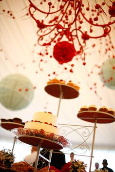 dessert buffet and coral chandelier