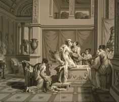 "Two of 26 panels of Joseph Dufour's 1815 ""Psyche and Cupid"" which was printed in the Grisaille style with 1,500 individual blocks. Lots more at ""If Walls Could  Talk"" http://chezchazz.hubpages.com/hub/oldhouseinteriors_wallpaperhistory"