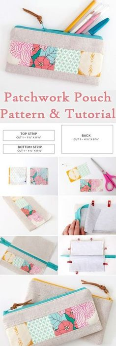 Patchwork Zipper Pouch DIY Tutorial http://www.free-tutorial.net/2017/09/patchwork-zipper-pouch-tutorial.html