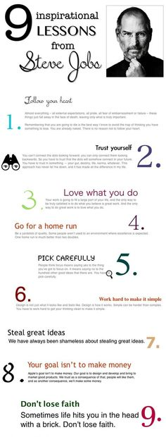 9 Inspirational Lessons From Steve Jobs [Infographic] The best advice for our soon to graduate students. Advice for your teen, Steve Jobs inspirational story, inspiring others Motivacional Quotes, Great Quotes, Quotes To Live By, Inspirational Quotes, Super Quotes, Work Quotes, Steve Job Quotes, Career Quotes, Motivational Sayings
