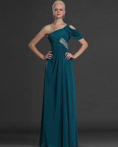 One Shoulder Sleeveless Floor Length A Line Evening Dresses