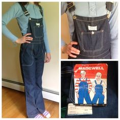 "Vintage 70s denim overalls.  Madewell brand.  NWT Adorable vintage overalls.  They are kids size 16, but would easily fit a size XS or a size 0.  My daughter is modeling them in the pics.  She is a size 3, but these are too tight for her.  Brand new with tags.  A couple defects, which I have pictured.  Waist (measuring snap to snap) is about 24"".  Inseam length is 32"".  These have a musty smell from being stored for 40 years.  Madewell brand.  These look great with the vintage lt blue top I…"