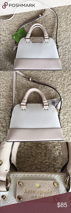 Kate Spade Wellesley Mini Rachelle cream/pebble The chicest, girliest, cutest bag ever! New with tags. Approx 8'' W x 6'' H x 2.5'' D. Small dark brown discoloration on a few stitches on bottom as shown, almost unnoticeable unless you are looking closely (and who really sees the bottom? 😂) Please ask questions or request additional photos if you'd like, I want you to be happy with your purchase! I do not model or trade ❌❌ kate spade Bags