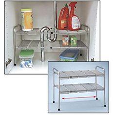 4e0591a0d56 Amazon.com - 2 Tier Expandable Adjustable Under Sink Shelf Storage Shelves  Kitchen Organizer - Cabinet Pull Out Organizers