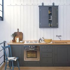 """Plain English Williamsburg kitchen   Remodelista More grey cabinets with white walls. These wooden counters keep showing up and they are beautiful but I would prefer not to have that to worry about maintaining. Main kitchen goals include """"hide coffee spills"""" and """"not be ruinable"""" -kf"""